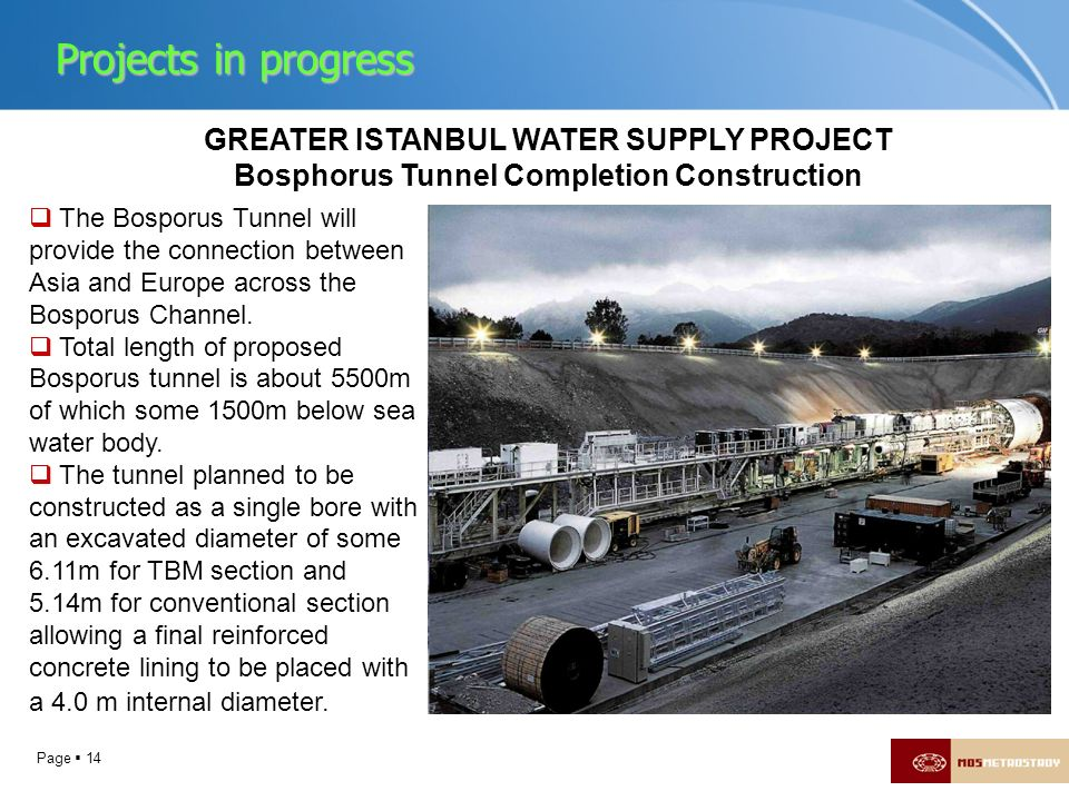 Projects in progress GREATER ISTANBUL WATER SUPPLY PROJECT