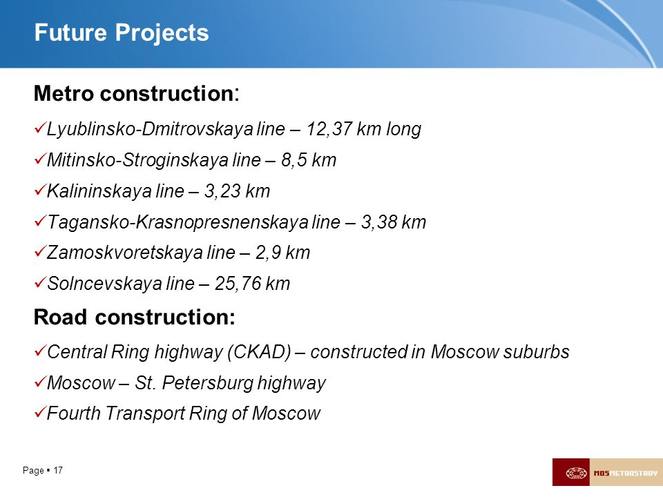 Future Projects Metro construction: Road construction: