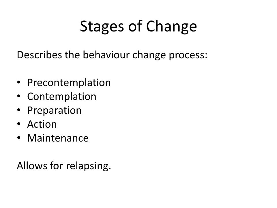 Stages of Change Describes the behaviour change process: