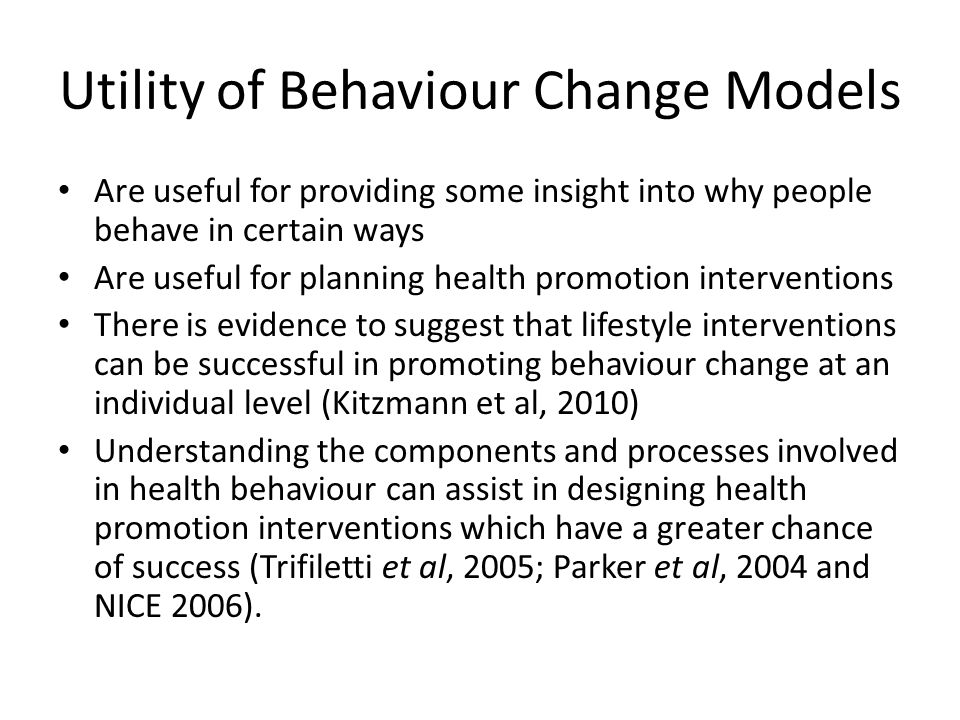 Utility of Behaviour Change Models