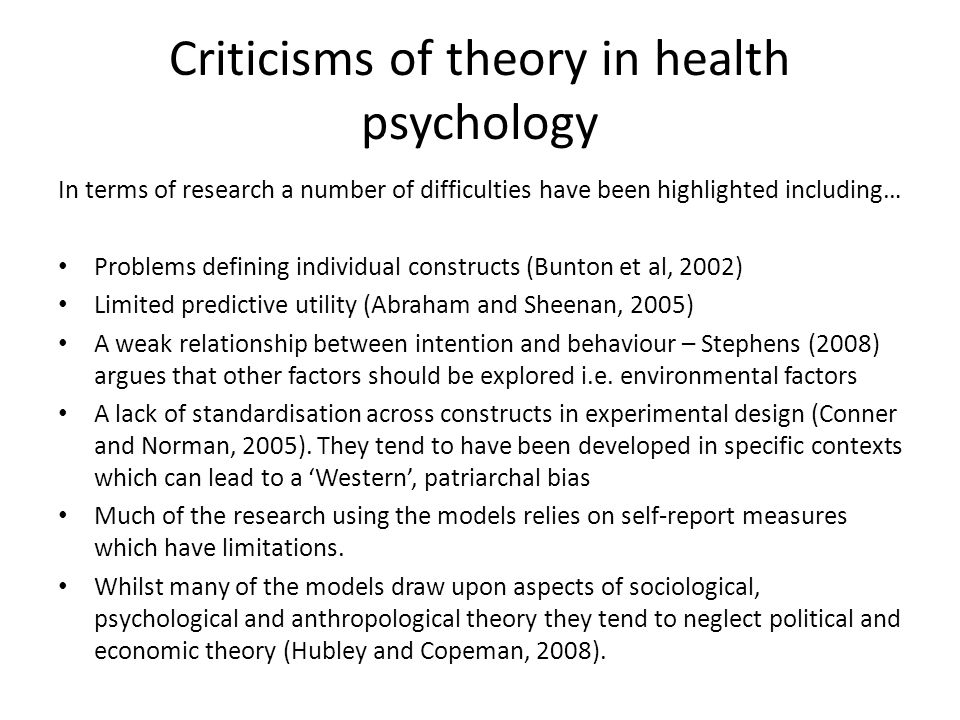Criticisms of theory in health psychology