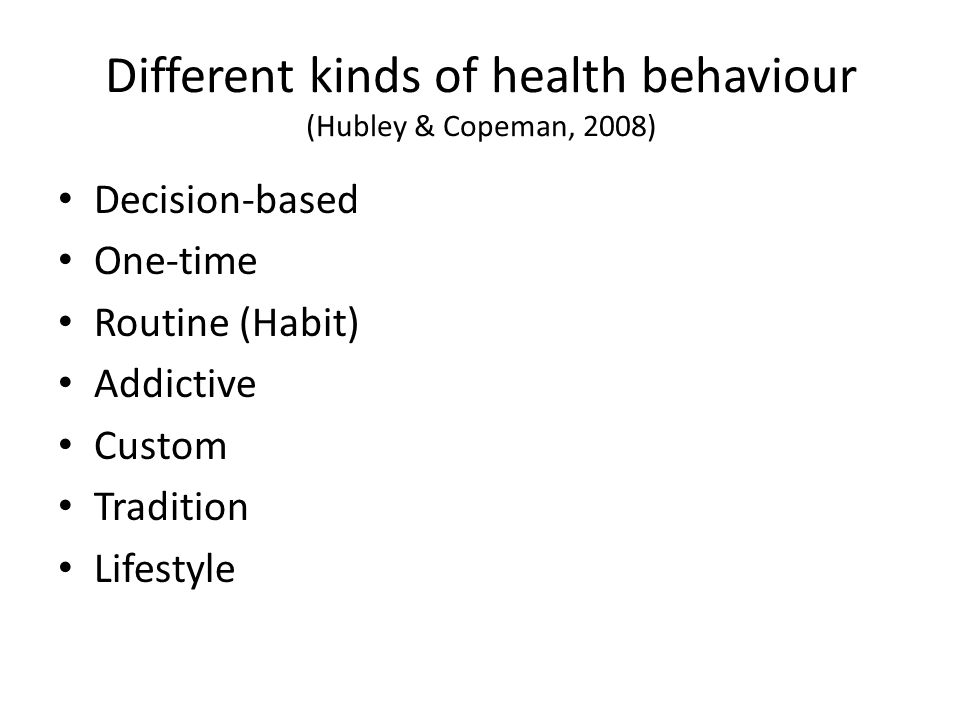 Different kinds of health behaviour (Hubley & Copeman, 2008)