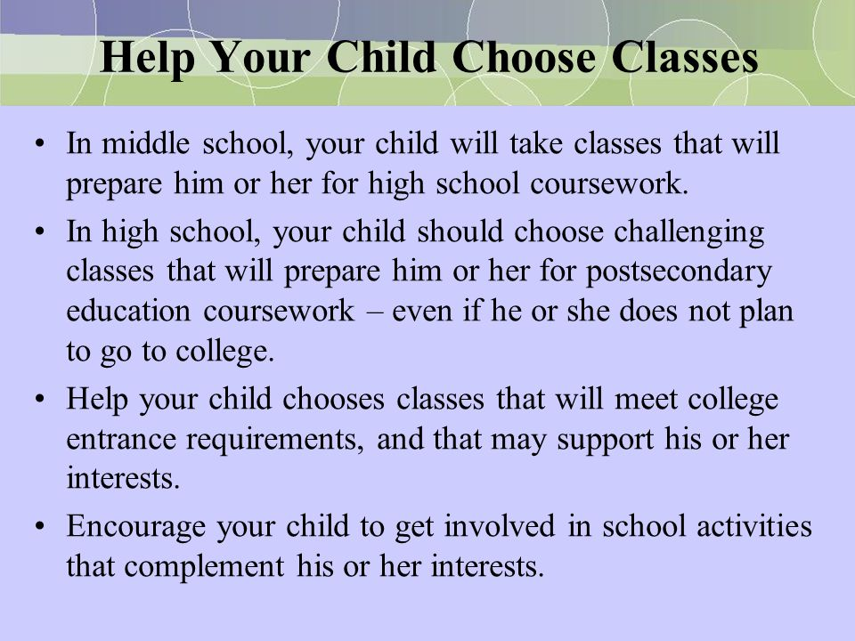 Help Your Child Choose Classes