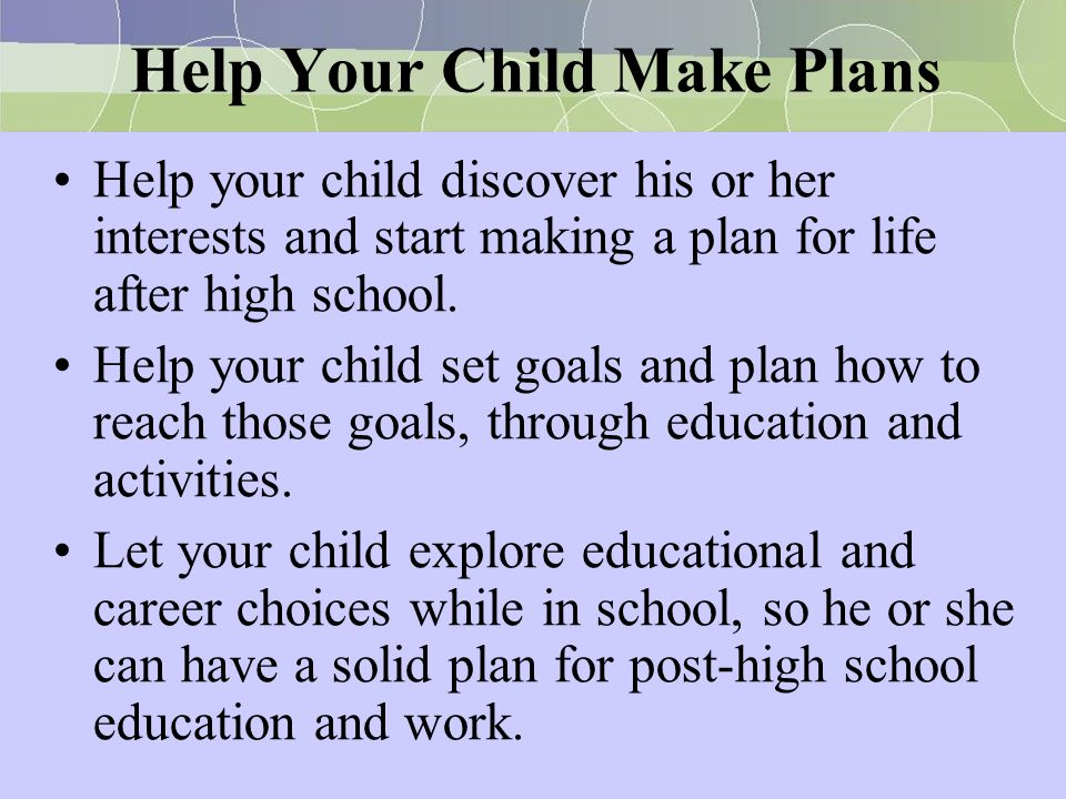 Help Your Child Make Plans