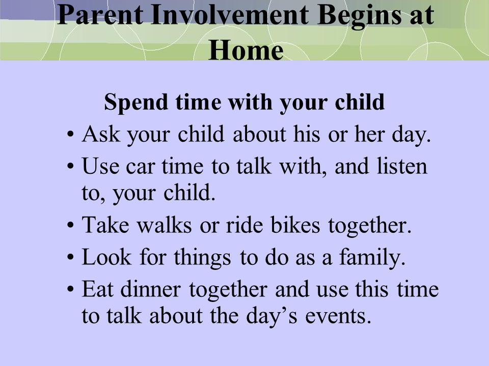 Parent Involvement Begins at Home