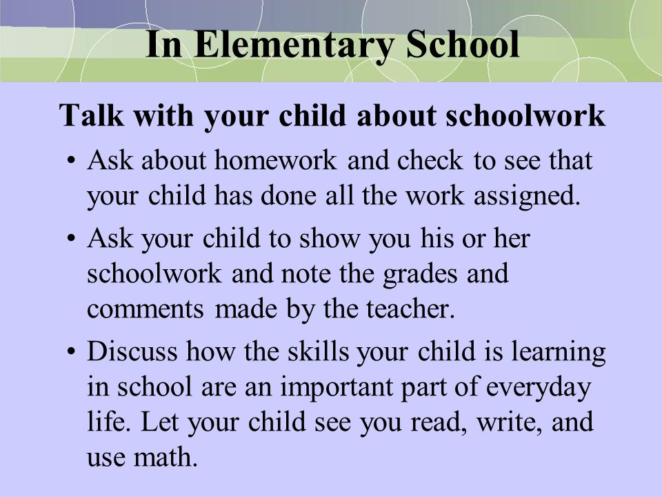Talk with your child about schoolwork