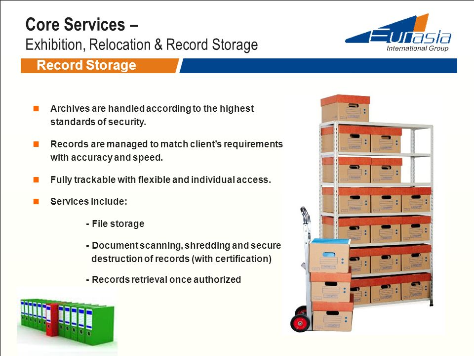 Core Services – Exhibition, Relocation & Record Storage
