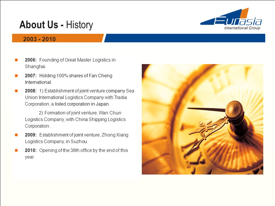 About Us - History : Founding of Great Master Logistics in Shanghai. 2007: Holding 100% shares of Fan Cheng International.