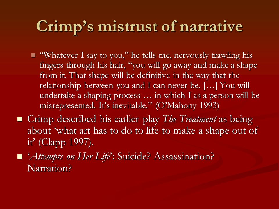 Crimp's mistrust of narrative