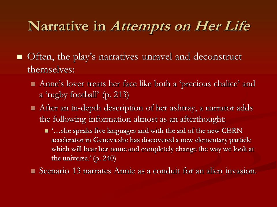 Narrative in Attempts on Her Life