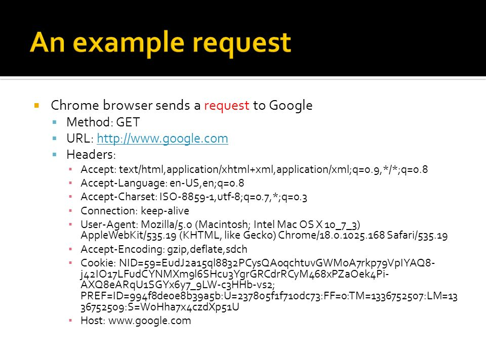 An example request Chrome browser sends a request to Google