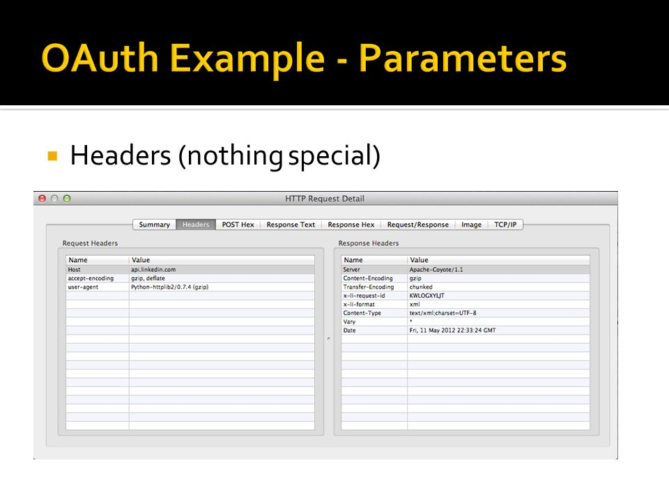 OAuth Example - Parameters