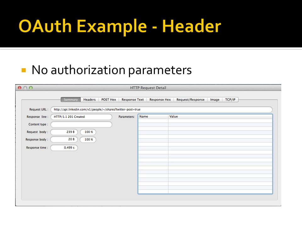 OAuth Example - Header No authorization parameters