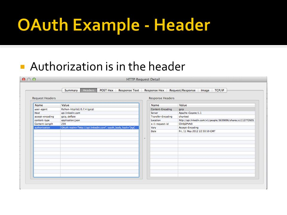 OAuth Example - Header Authorization is in the header