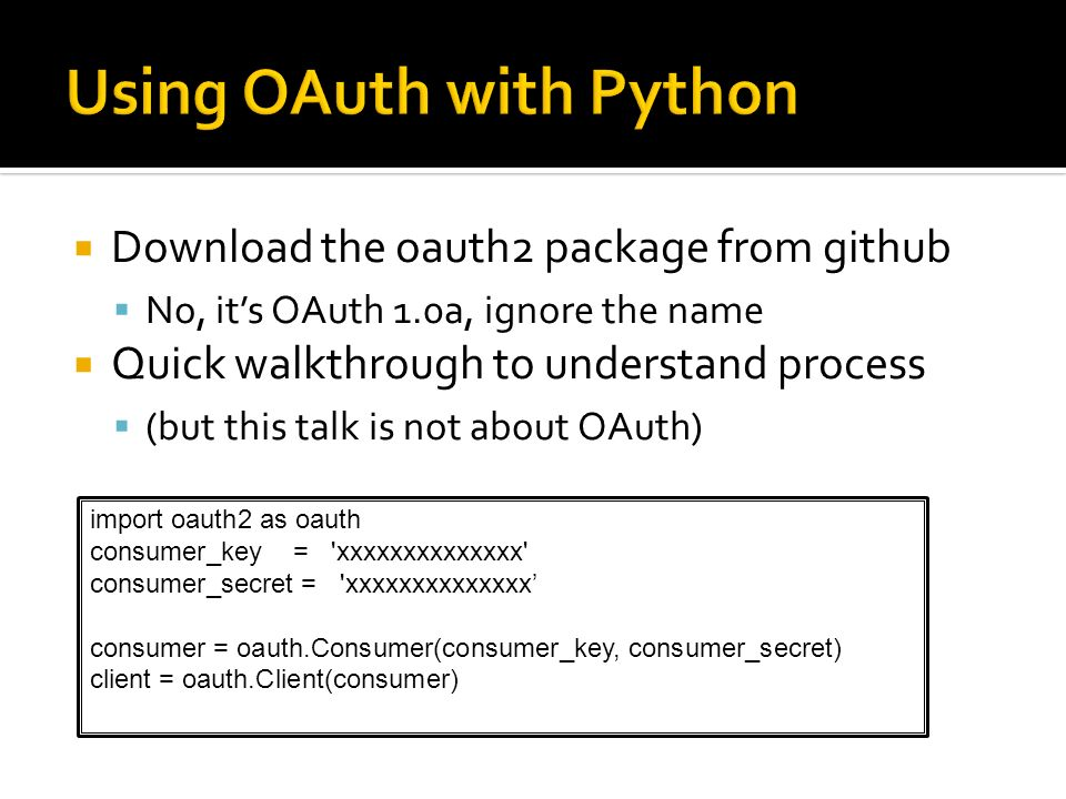 Using OAuth with Python