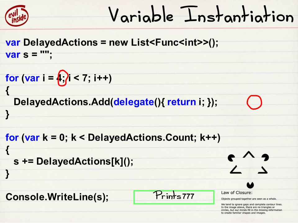 Variable Instantiation