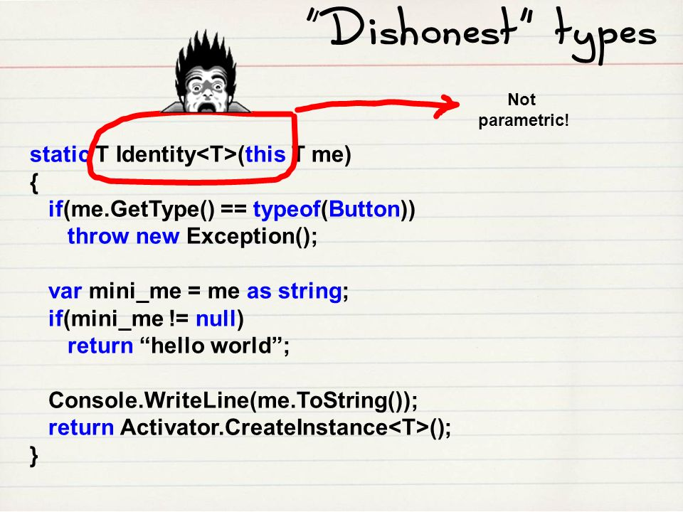 Dishonest types static T Identity<T>(this T me) {