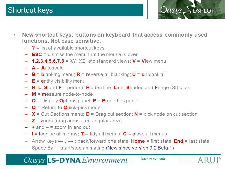 Shortcut keys New shortcut keys: buttons on keyboard that access commonly used functions. Not case sensitive.