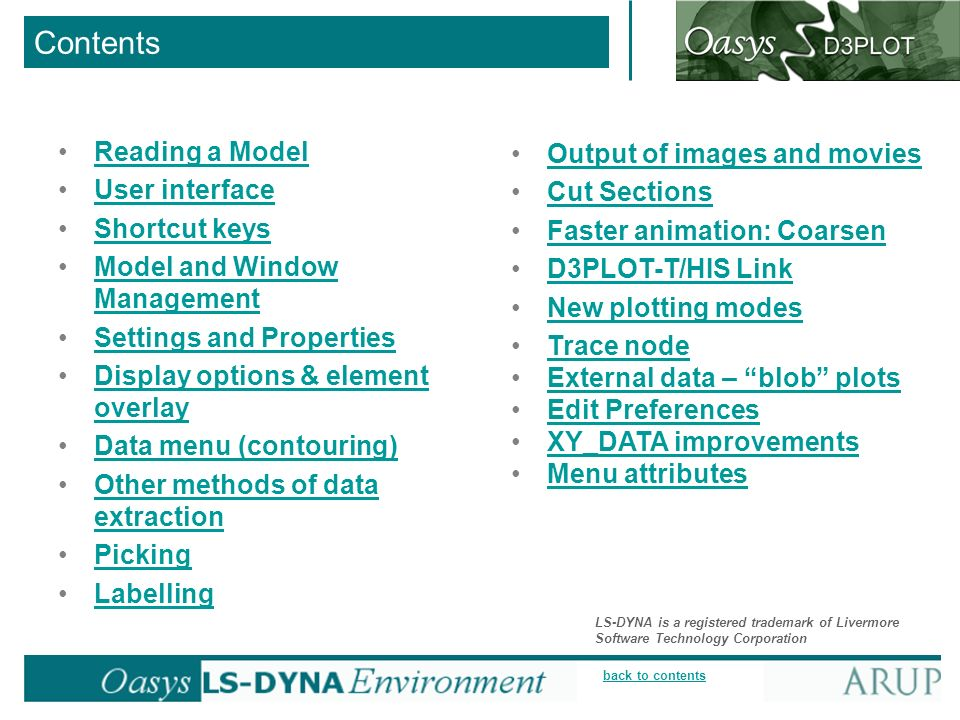 Contents Reading a Model Output of images and movies User interface
