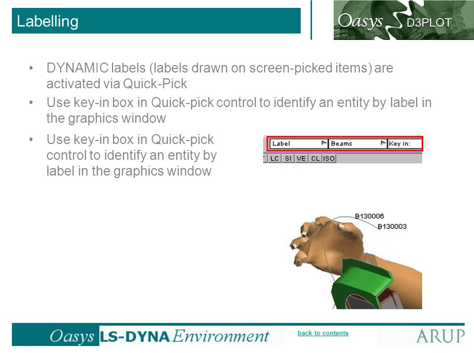 Labelling DYNAMIC labels (labels drawn on screen-picked items) are activated via Quick-Pick.