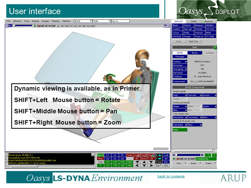 User interface Dynamic viewing is available, as in Primer.