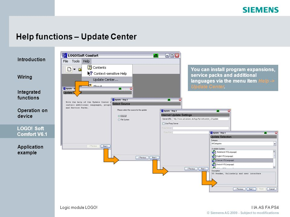 Help functions – Update Center