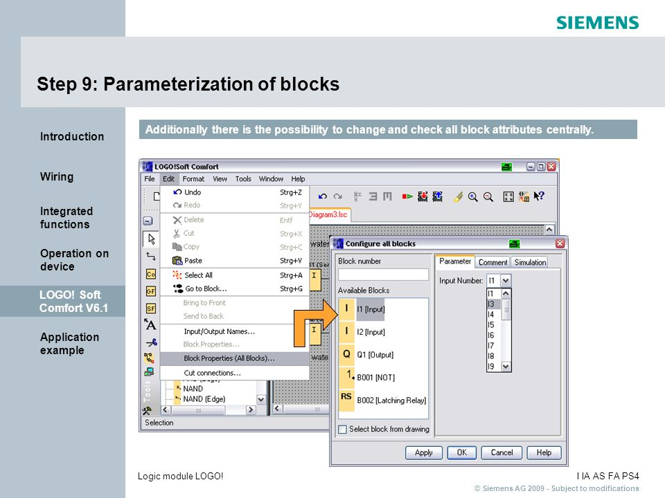Step 9: Parameterization of blocks