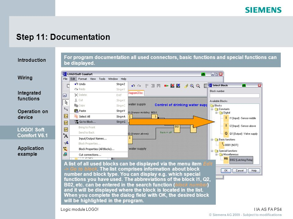 Step 11: Documentation For program documentation all used connectors, basic functions and special functions can be displayed.