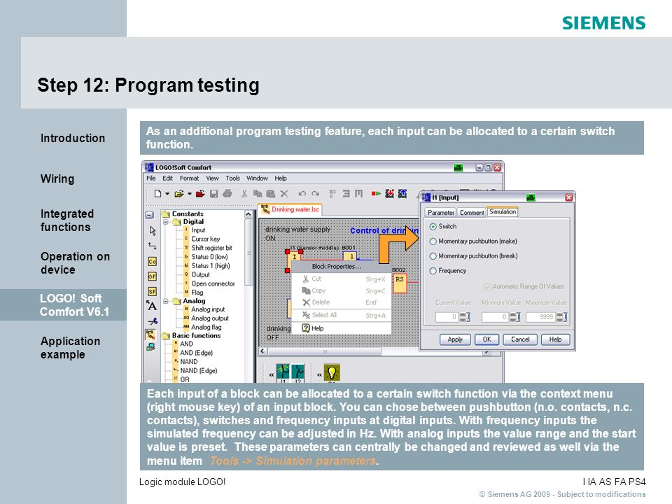 Step 12: Program testing As an additional program testing feature, each input can be allocated to a certain switch function.