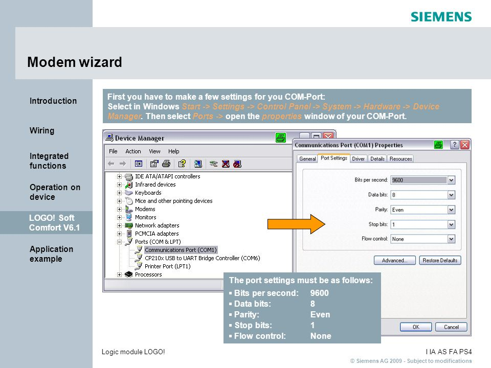 Modem wizard First you have to make a few settings for you COM-Port: