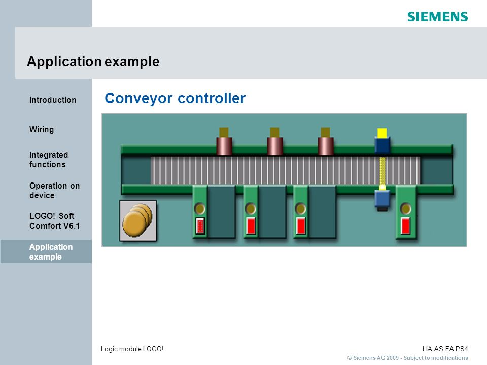 Application example Conveyor controller Application example