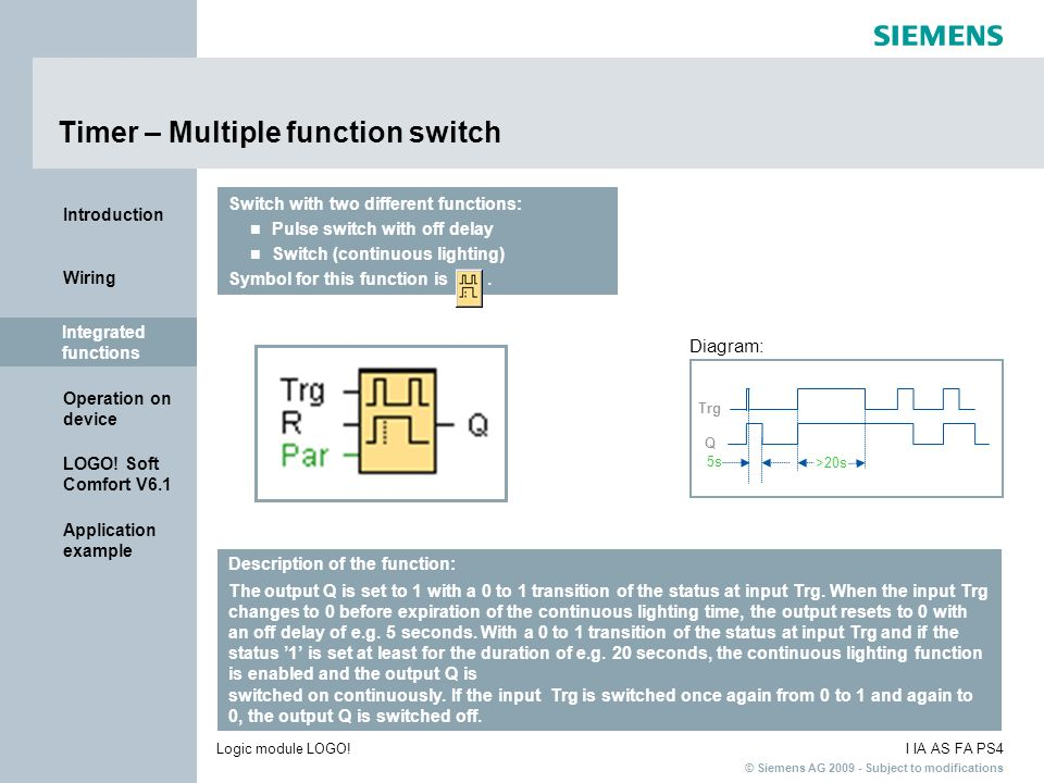 Timer – Multiple function switch