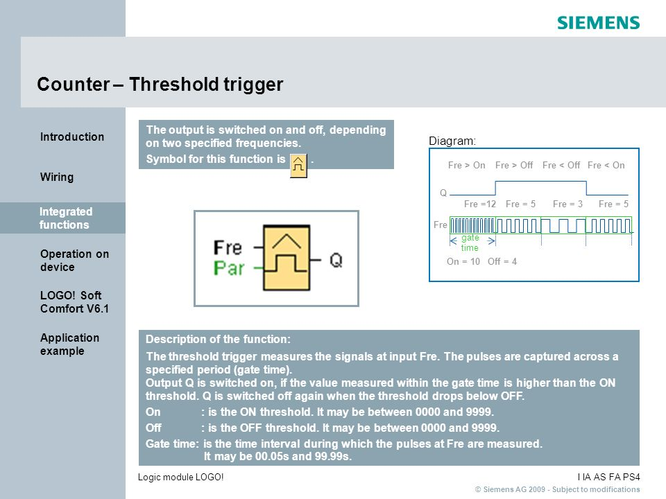 Counter – Threshold trigger