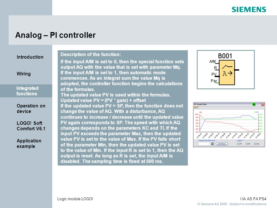 Analog – PI controller Description of the function: