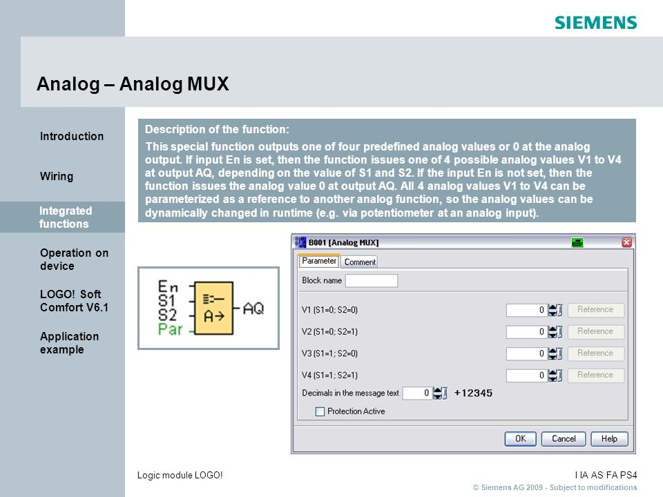 Analog – Analog MUX Description of the function: