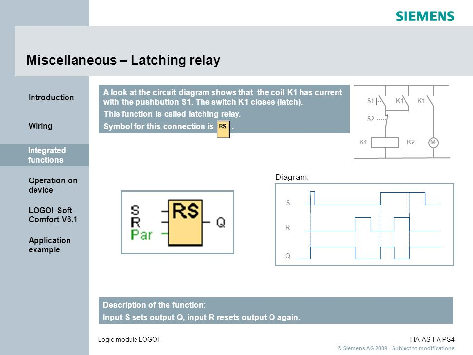 Miscellaneous – Latching relay