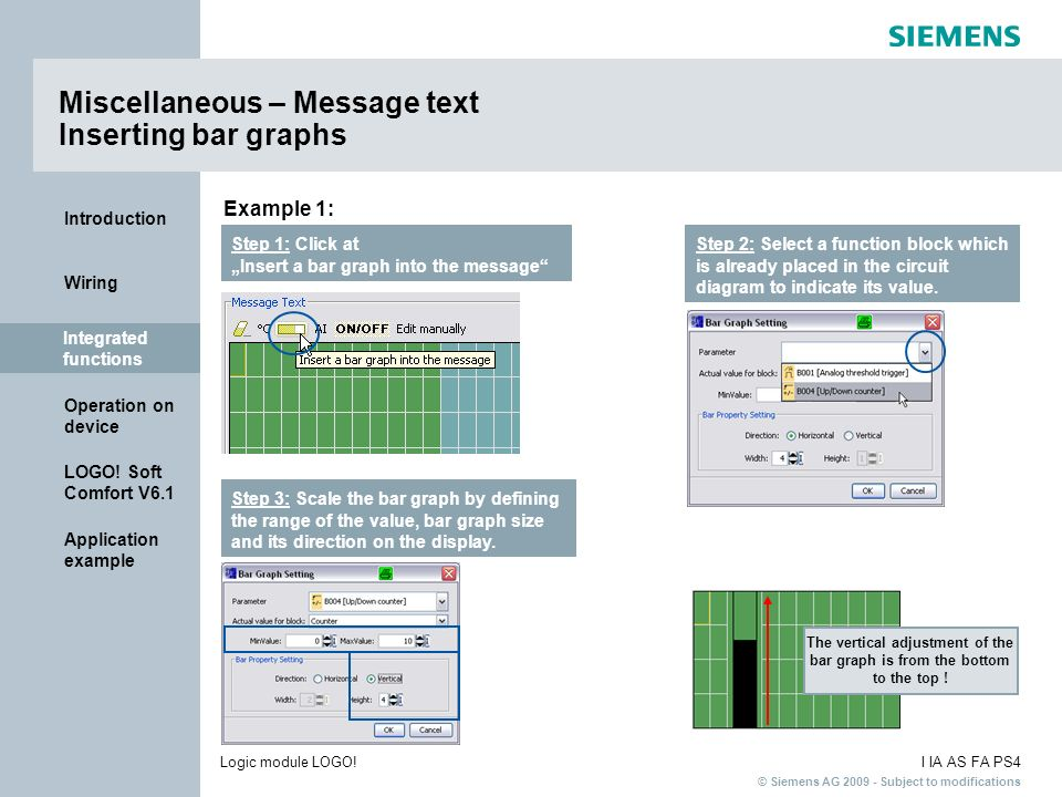 Miscellaneous – Message text Inserting bar graphs
