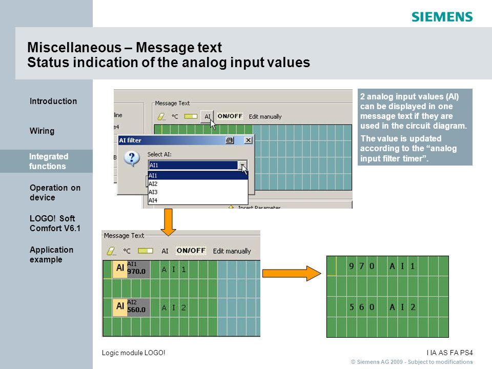 Miscellaneous – Message text Status indication of the analog input values