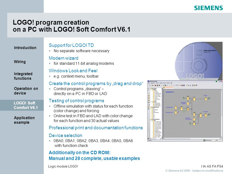LOGO! program creation on a PC with LOGO! Soft Comfort V6.1