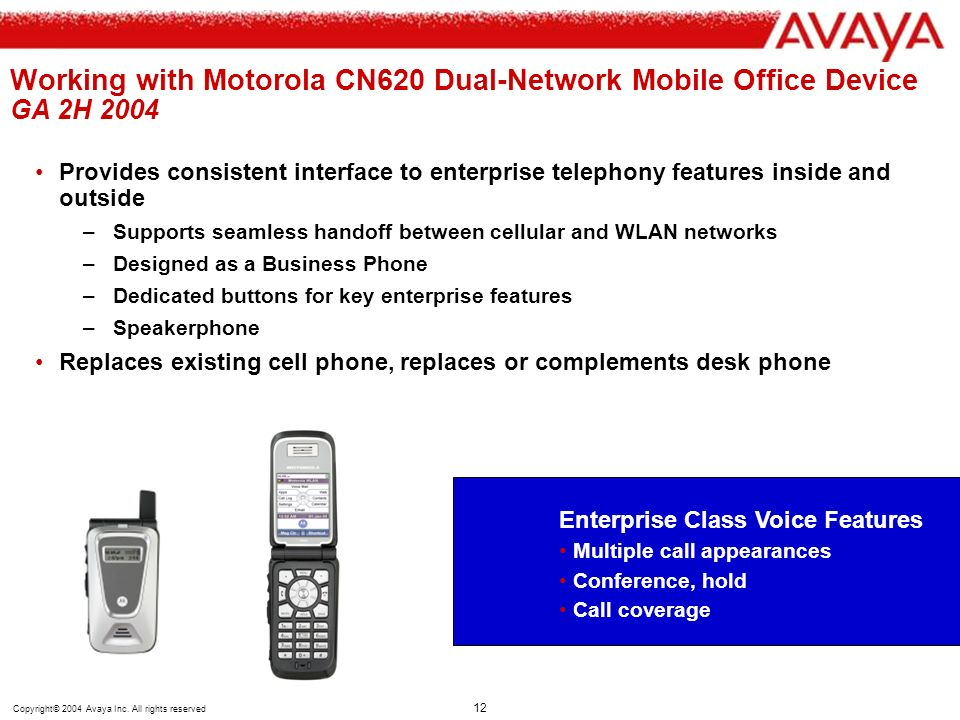 Working with Motorola CN620 Dual-Network Mobile Office Device GA 2H 2004