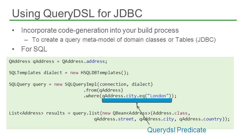 Using QueryDSL for JDBC