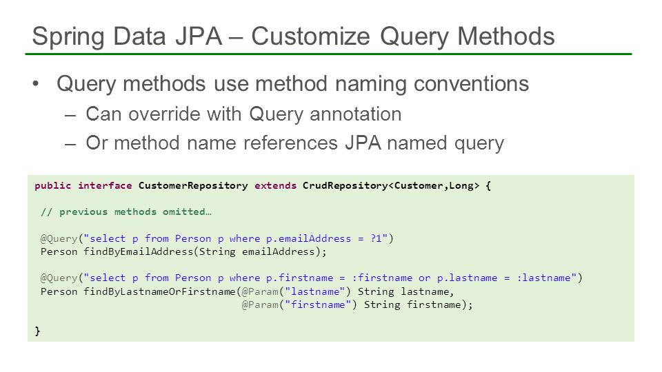 Spring Data JPA – Customize Query Methods