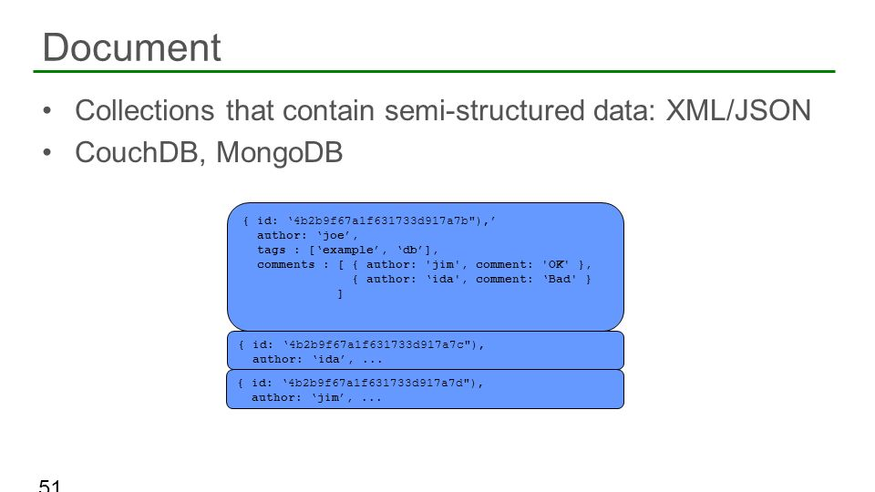 Document Collections that contain semi-structured data: XML/JSON