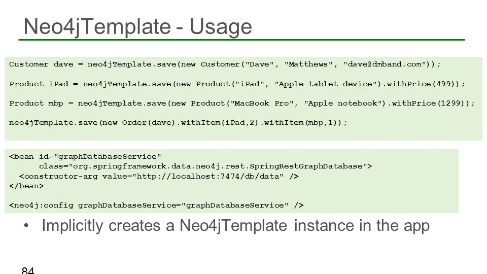 Neo4jTemplate - Usage Implicitly creates a Neo4jTemplate instance in the app.