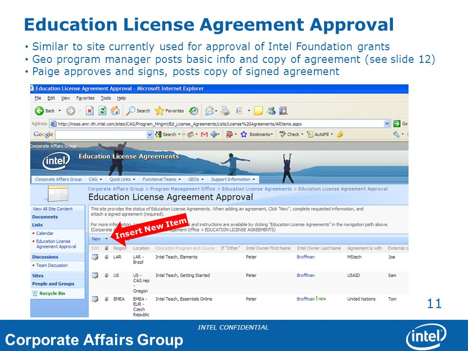 Education License Agreement Approval