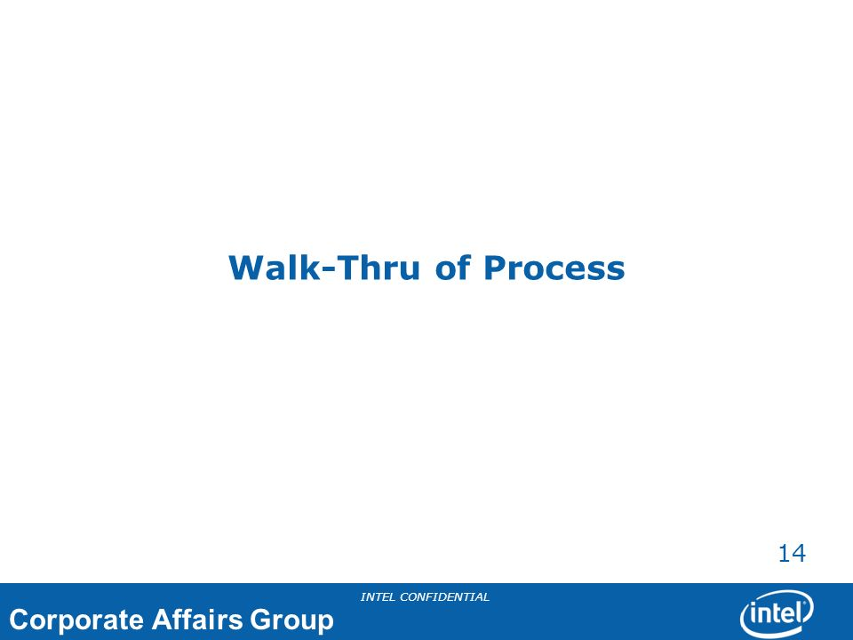 Walk-Thru of Process