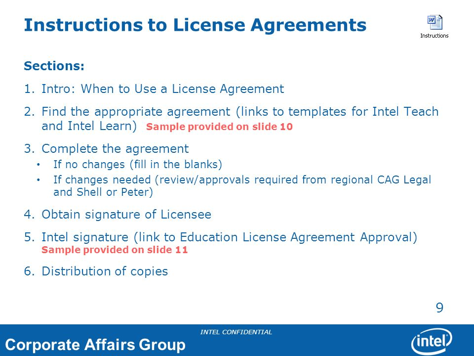Instructions to License Agreements