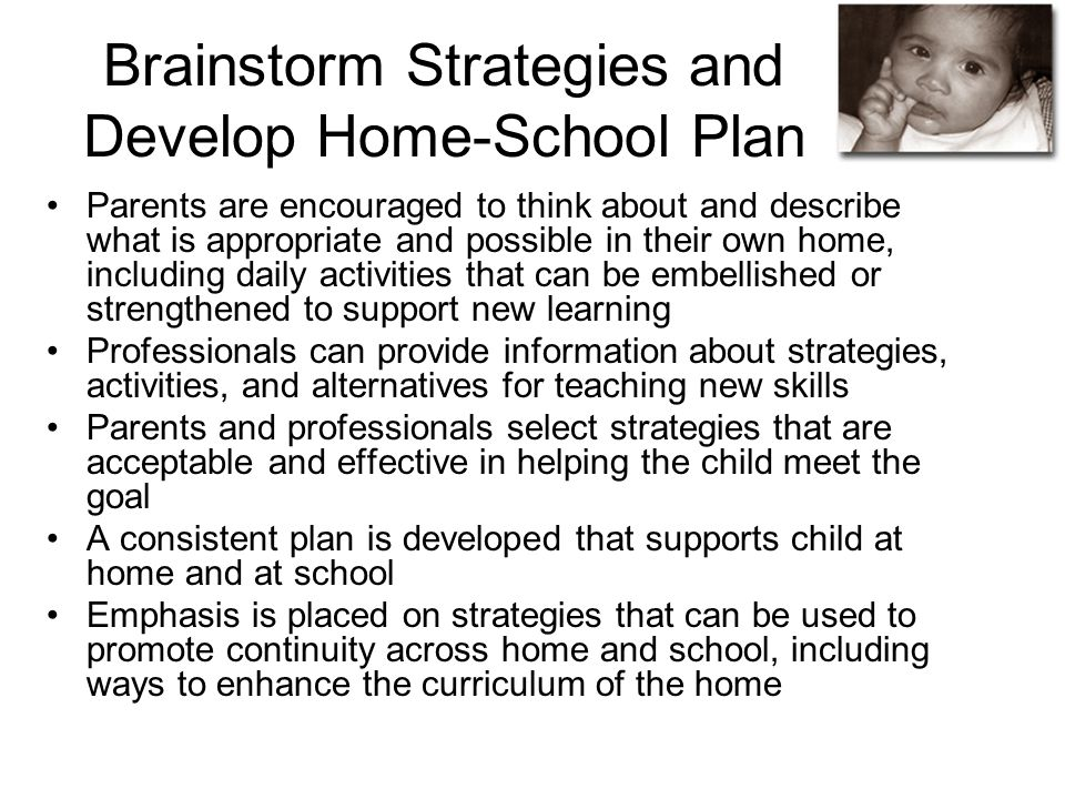 Brainstorm Strategies and Develop Home-School Plan