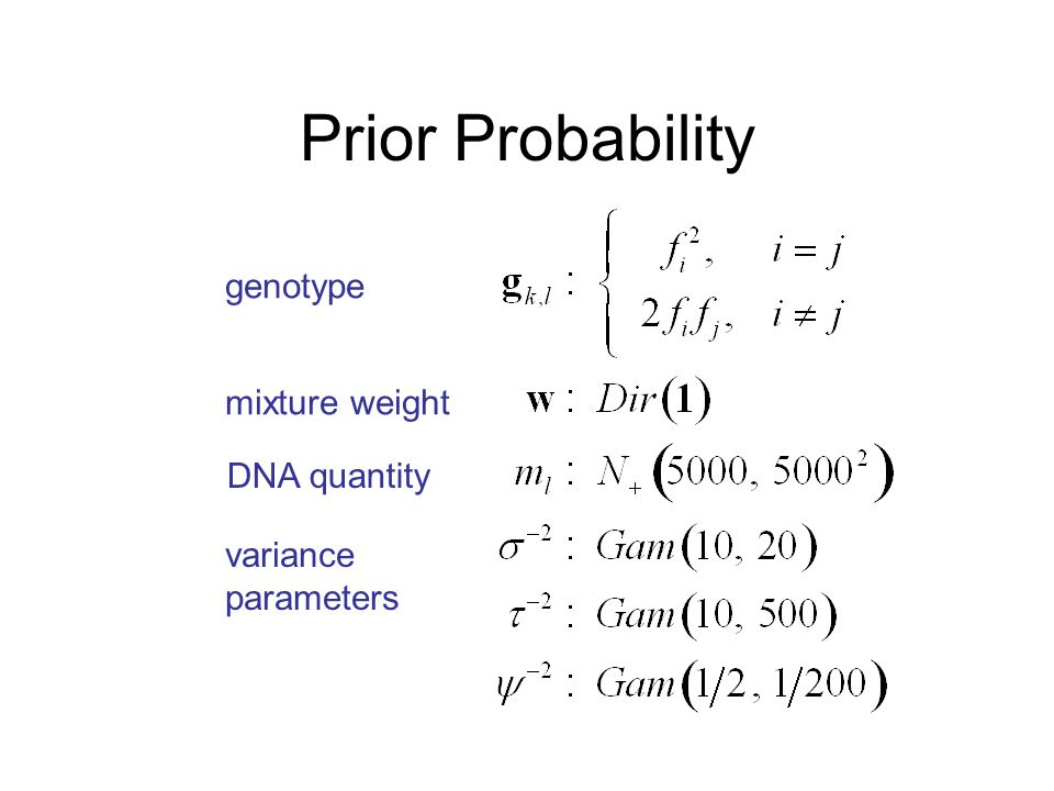 Prior Probability genotype mixture weight DNA quantity variance