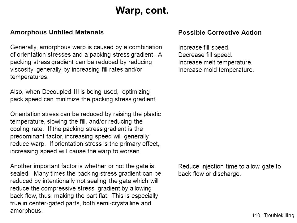 Warp, cont. Amorphous Unfilled Materials Possible Corrective Action